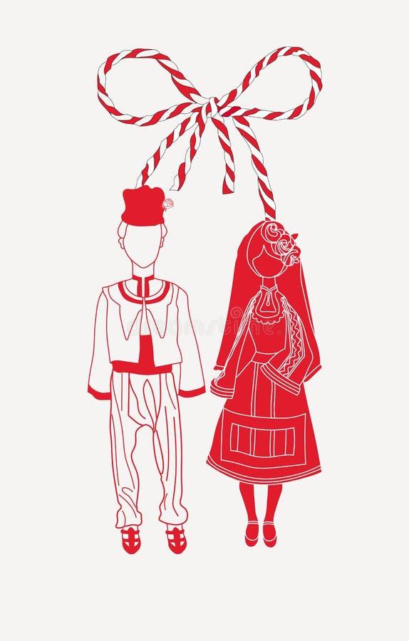 Martenitsa Pizho i Penda ilustracja wektor
