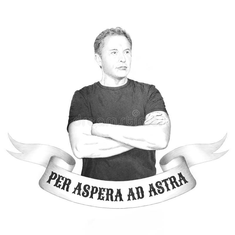 MARTH 16, 2019: Stående av Elon Musk white för tree för bakgrundsteckningsblyertspenna royaltyfri illustrationer
