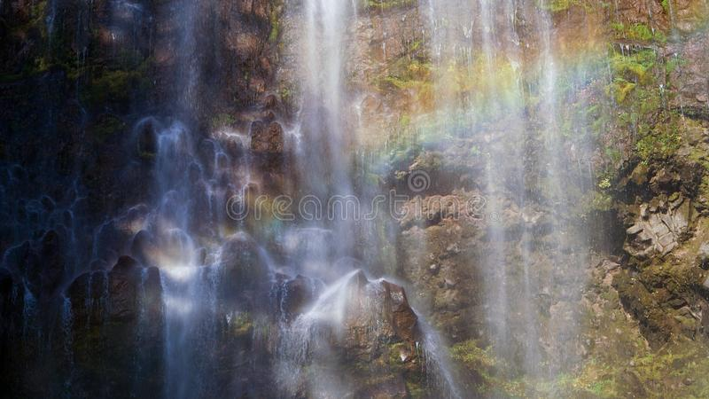 Martha Falls Waterfall along the Wonderland Trail in USA.  stock image