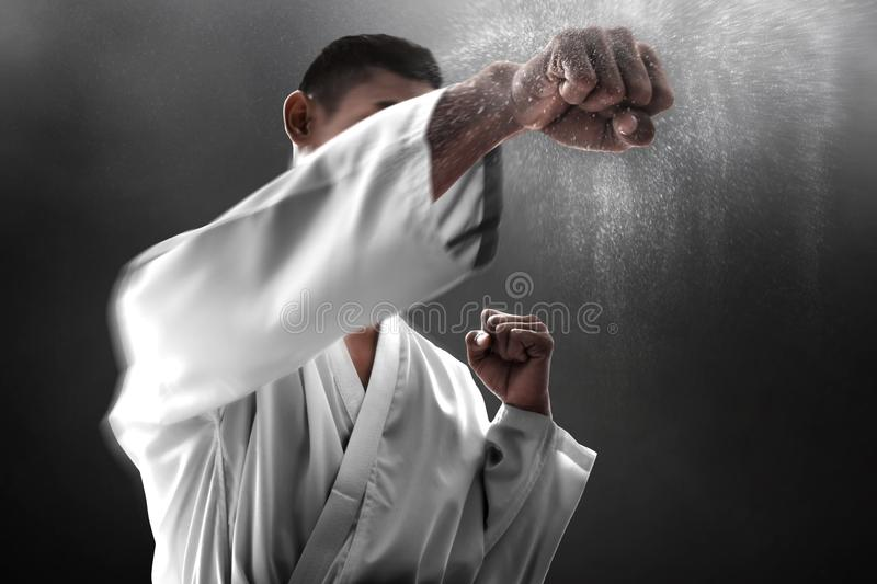 Martial art fighter punching training stock photo