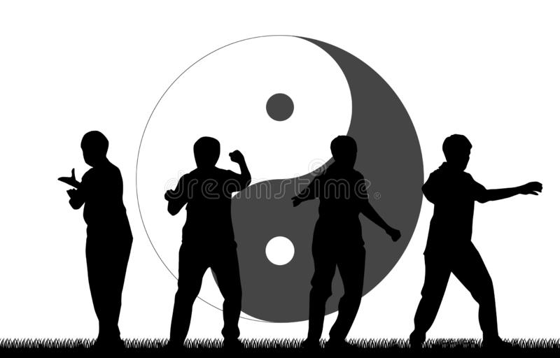 Martial Art Kung Fu Tai Chi Self Defense Exercise Fight. Master People vector concept stock illustration