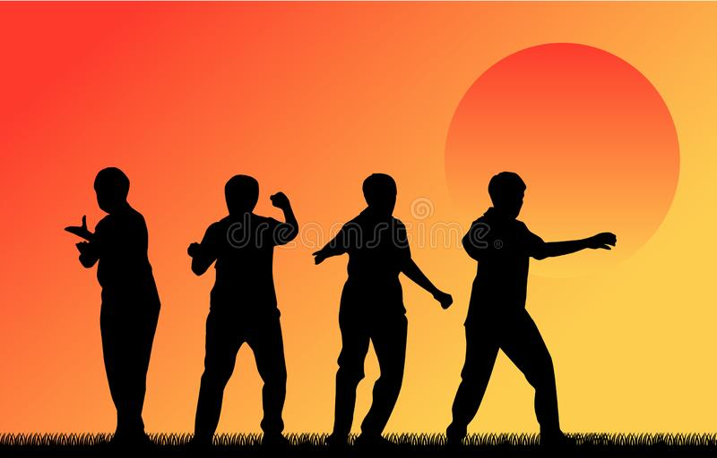 Martial Art Kung Fu Tai Chi Self Defense Exercise Fight. Master People vector concept vector illustration