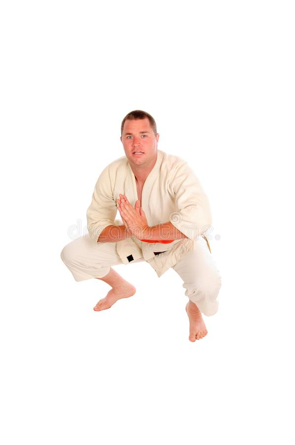 Martial art person isolated. Young man doing martial art exercises isolated on a white background stock image