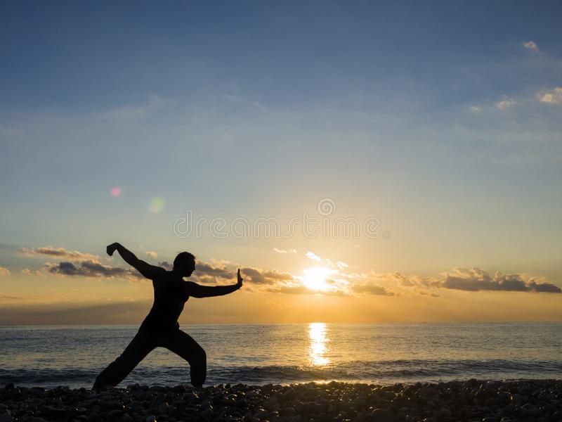 Martial Artist with orange sunset. Silhouette of a man practice whushu. Healthy lifestyle royalty free stock images