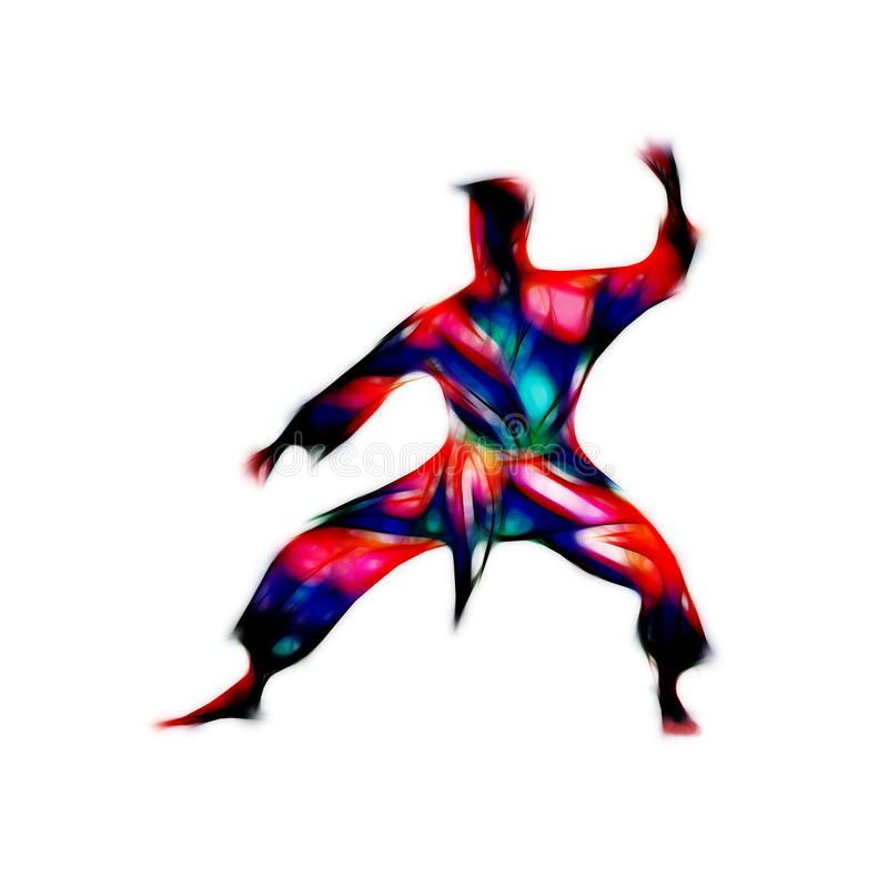 Martial arts abstract silhouette on white background. Man in a karate pose. Martial arts man silhouette. Abstract illustration of a martial arts master on white stock illustration