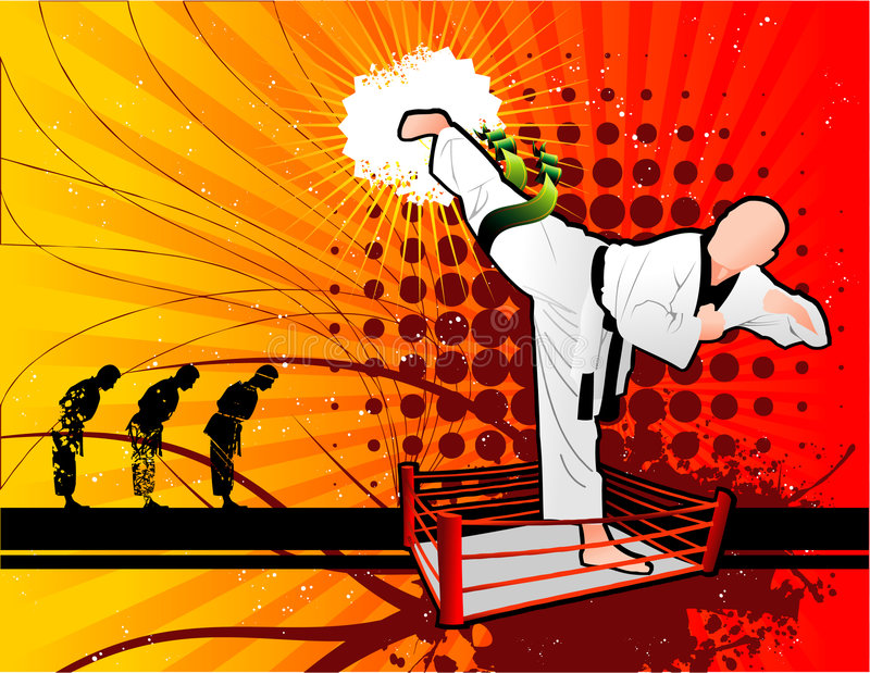 Martial arts composition royalty free illustration