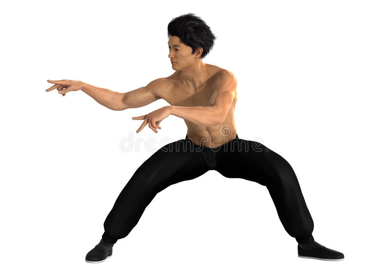 Martial Arts. 3D digital render of a young Asian man exercising martial arts isolated on white background royalty free stock photos