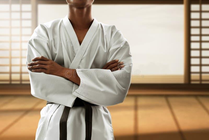 Martial arts fighter in dojo royalty free stock photo