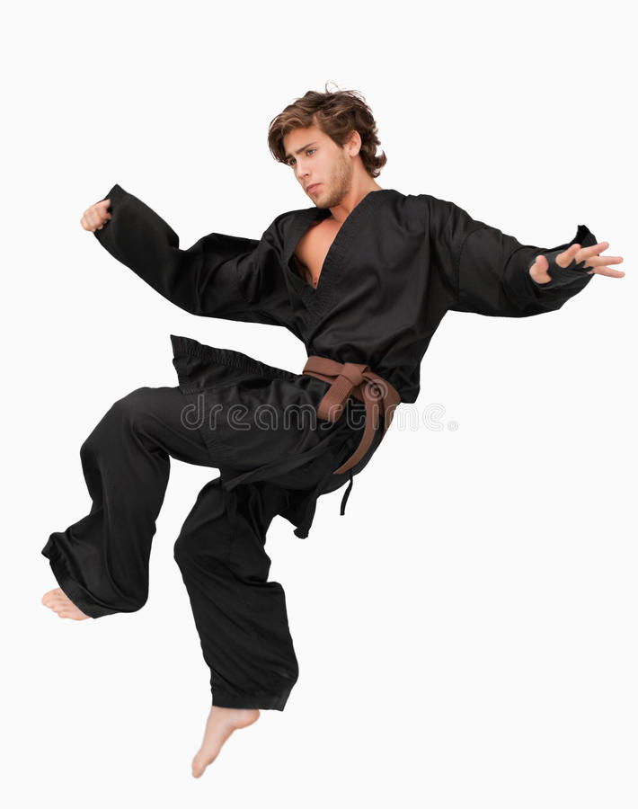 Martial arts fighter performing a jump kick stock images