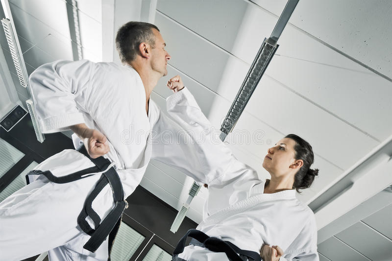 Martial arts fighters. An image of two martial arts fighters royalty free stock image