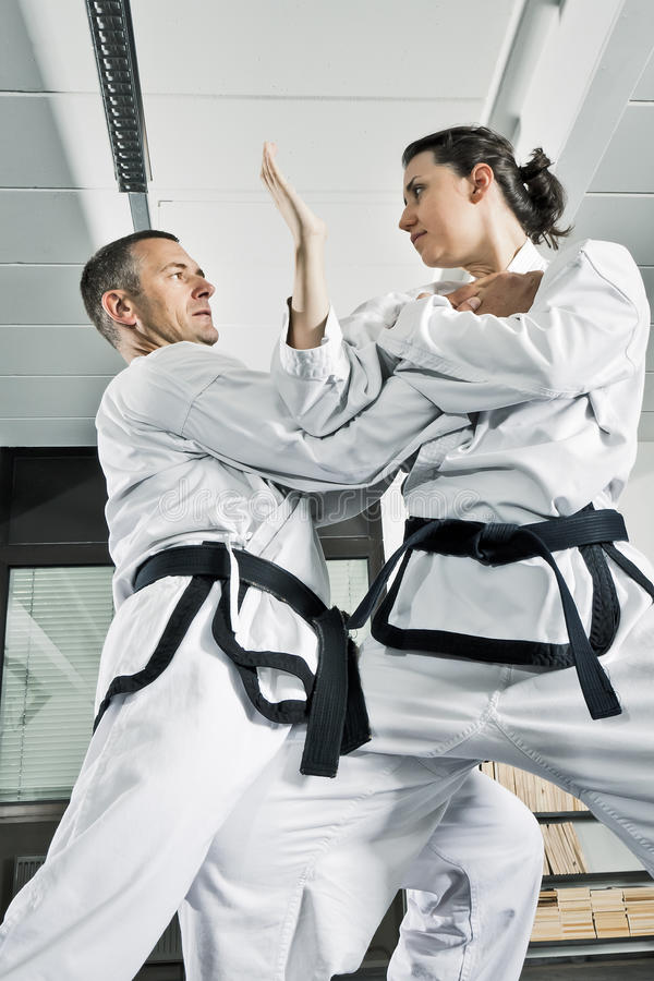 Martial arts fighters. An image of two martial arts fighters stock photos