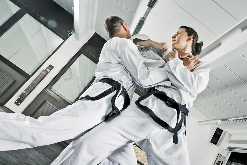 Martial arts fighters royalty free stock images