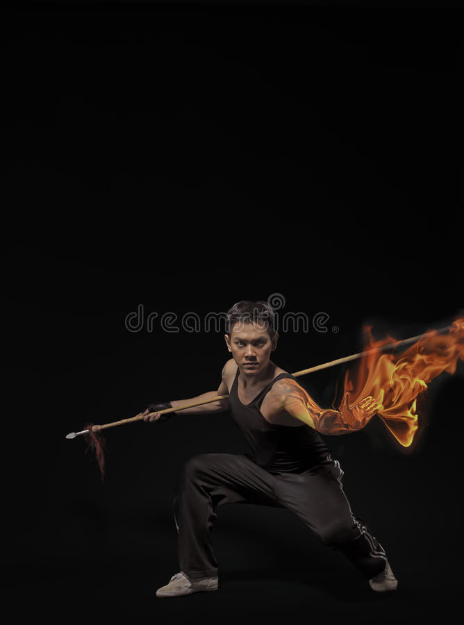 Martial Arts with flaming fists royalty free stock photography