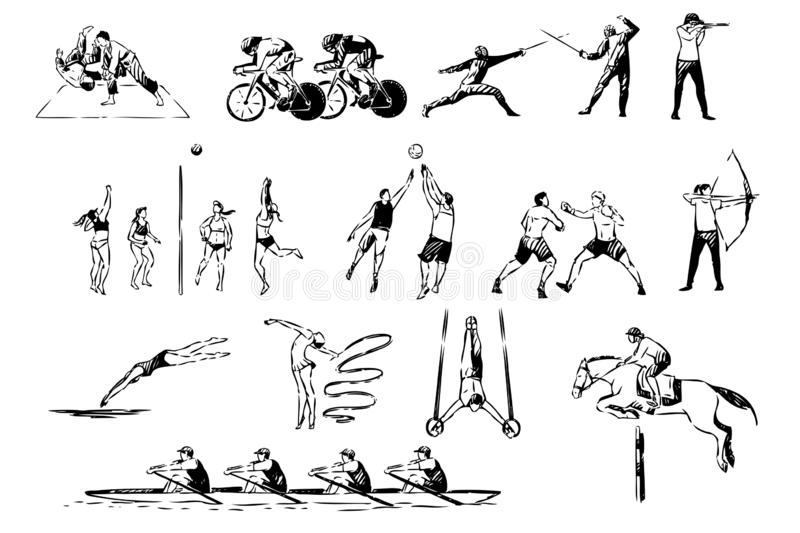 Martial arts, judo, boxing sparring, cycling, fencing duel, volleyball, basketball game, archery, healthy lifestyle set vector illustration