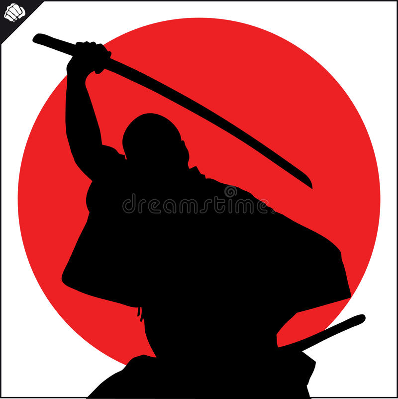 Martial arts. Karate fighter silhouette scene. stock photos