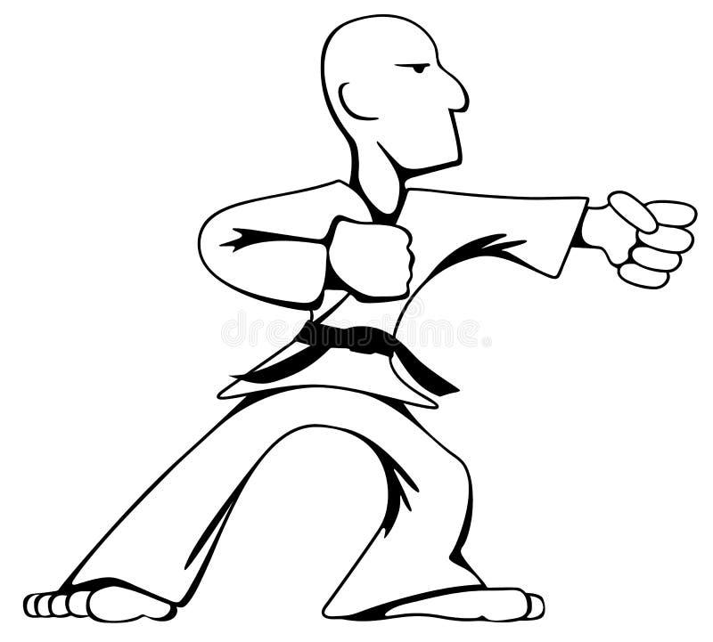 Martial Arts Karate Guy Cartoon Vector Black Line Drawing Illustration royalty free stock photos