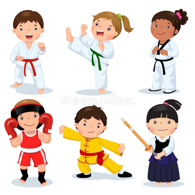 Martial arts kids. Children fighting, judo, taekwondo, karate, k. Set of martial arts kids. Children fighting, judo, taekwondo, karate, kung fu, boxing, kendo royalty free illustration