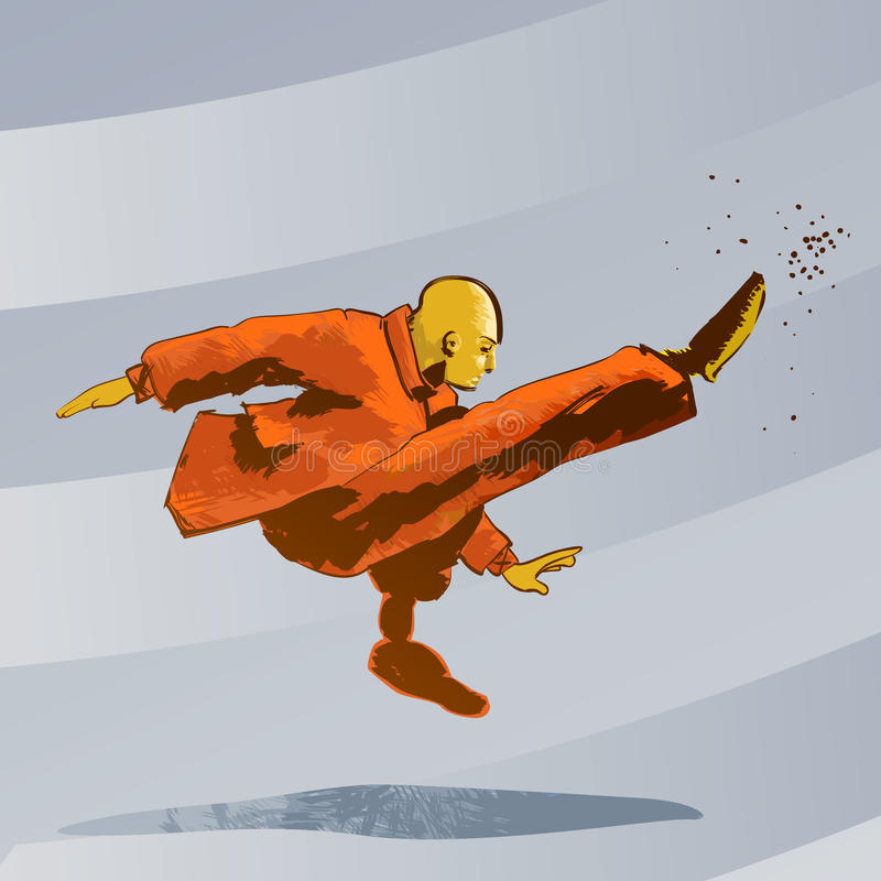 Martial arts - Kung Fu kick stock illustration