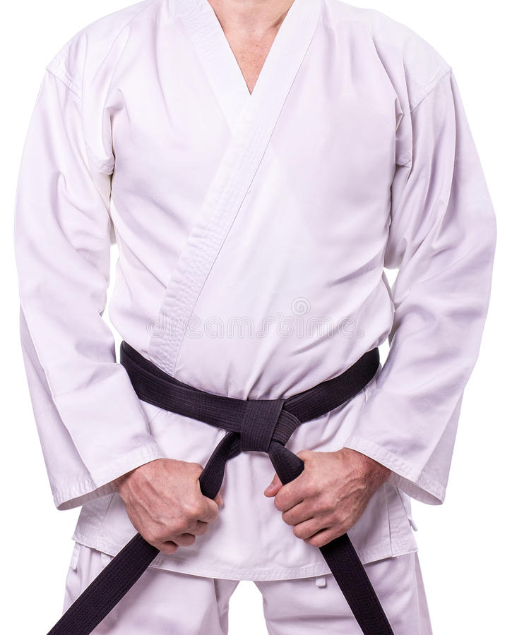 Martial arts Master with black belt stock images