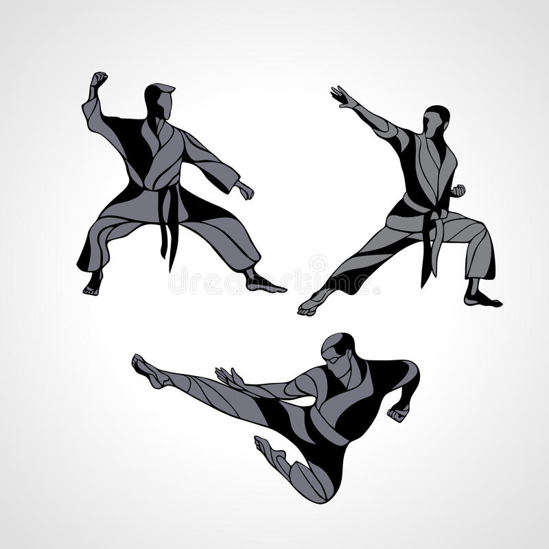 Martial arts poses silhouette. Karate fighters collection. Men in a karate pose. Martial arts silhouette set. Detailed vector illustration of a martial arts royalty free illustration