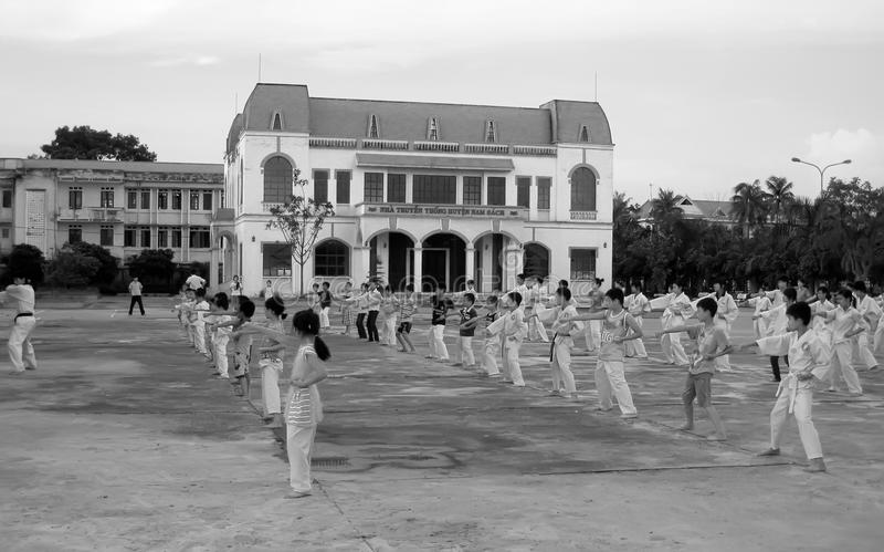 Martial arts practitioners. HAI DUONG, VIETNAM, September, 19: martial arts practitioners performance traditional martial arts on September, 19, 2013 in Hoi stock photo