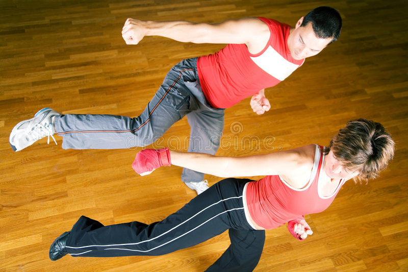 Martial Arts Sparring Royalty Free Stock Photos