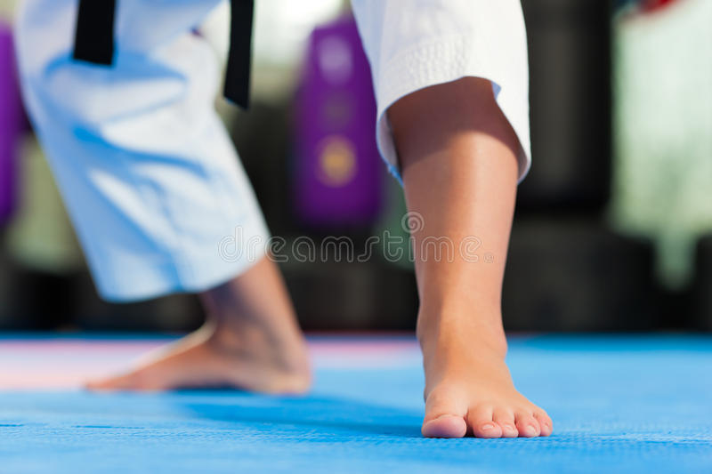 Martial Arts sport training in gym stock images