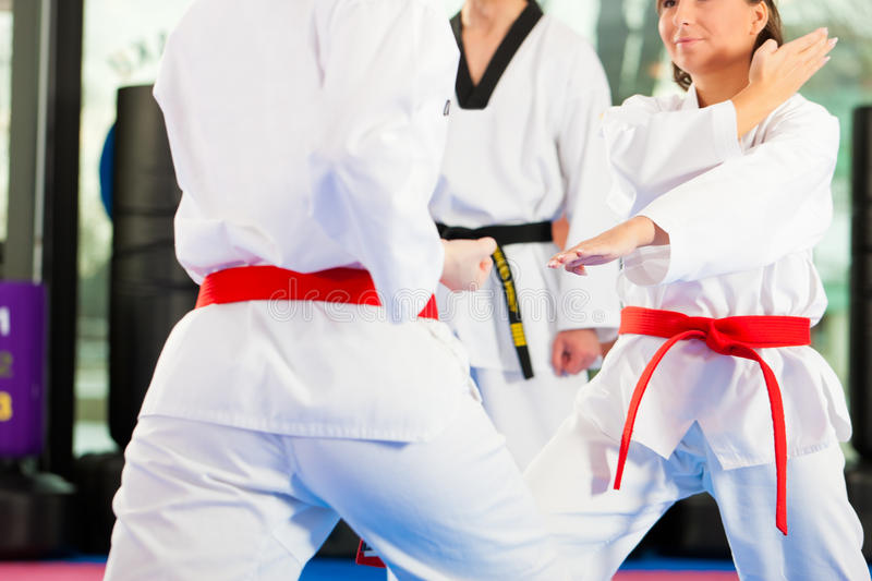 Martial Arts sport training in gym. People in a gym in martial arts training exercising Taekwondo, the trainer has a black belt stock photos