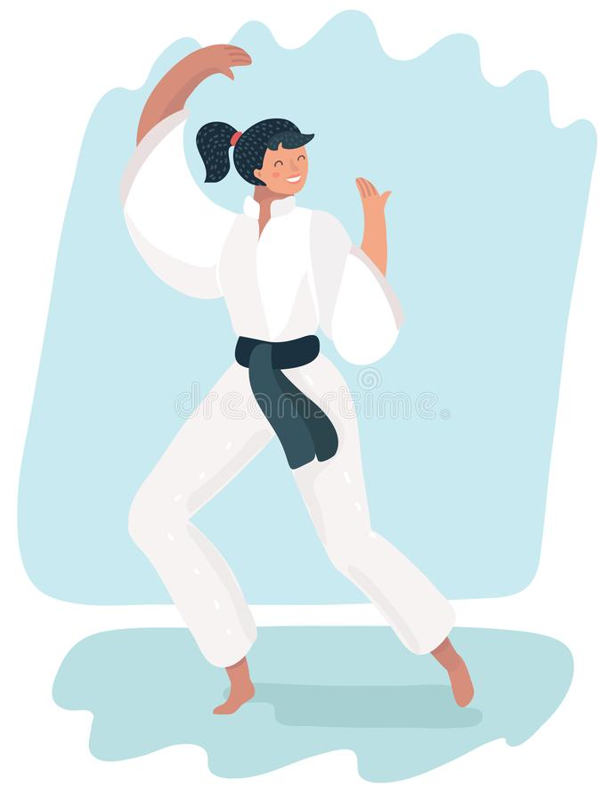 Martial arts woman in kimono excercising karate. Beautiful martial arts girl in kimono exercising karate. Brunette woman practicing battle stance or defense royalty free illustration