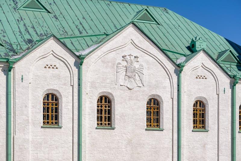 Martial Chamber, the Museum of the First World War in Pushkin (Tsarskoye Selo), Saint-Petersburg, Russia. Facade decoration of Martial Chamber, the Museum of stock image
