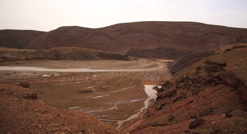 Martian ландшафт в горах, Марокко стоковые фотографии rf