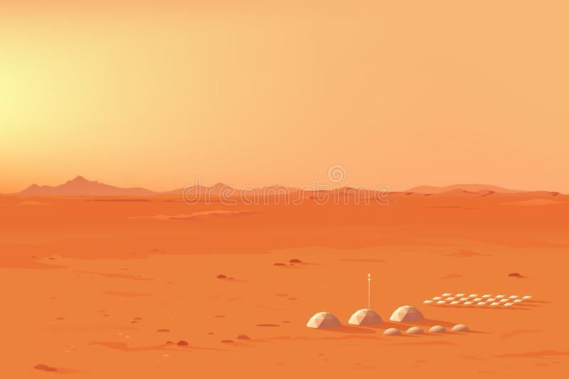 Martian Colony Landscape stock illustratie