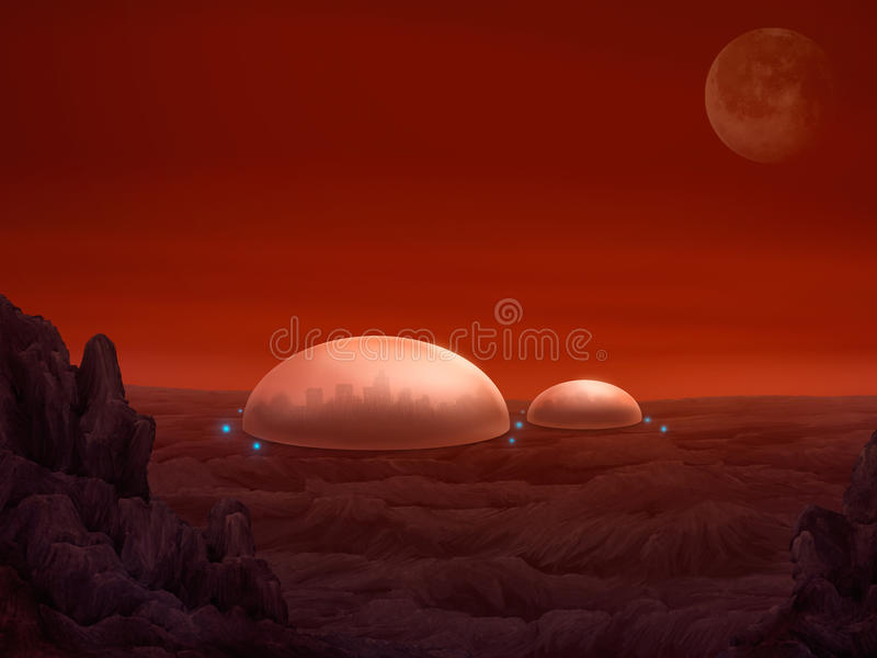 Download Martian Domes - Digital Painting Stock Illustration - Image: 22223526