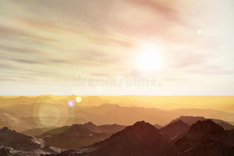 Martian landscape. 3D render illustration of abstract surrealistic Martian space landscape of mountainous Mars planet surface stock illustration
