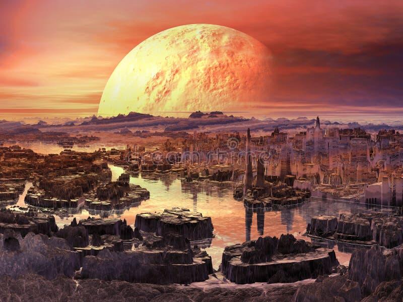 Martian morgon stock illustrationer