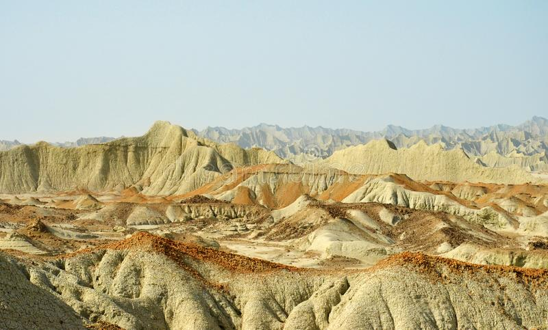 Martian Mountains in Chabahar Iran stock photography