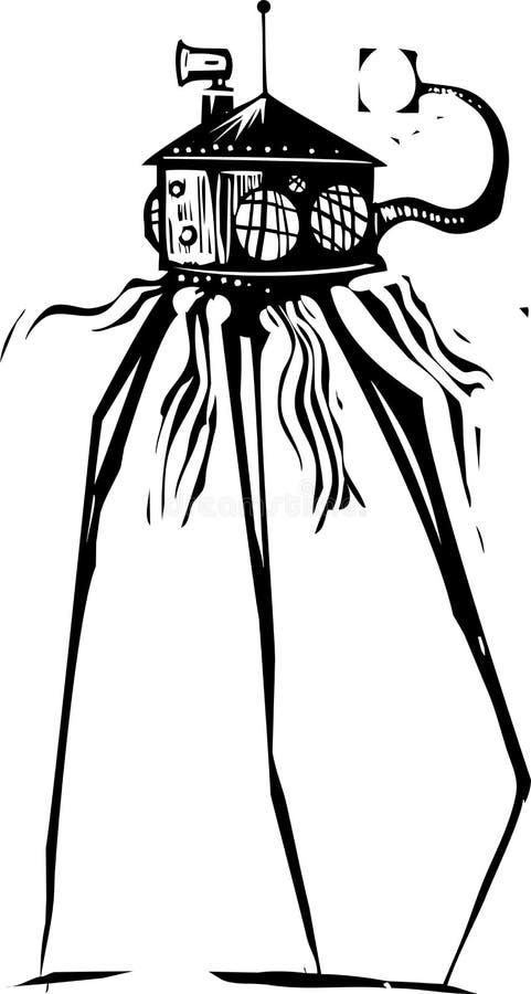 Martian Tripod Invader royalty-vrije illustratie