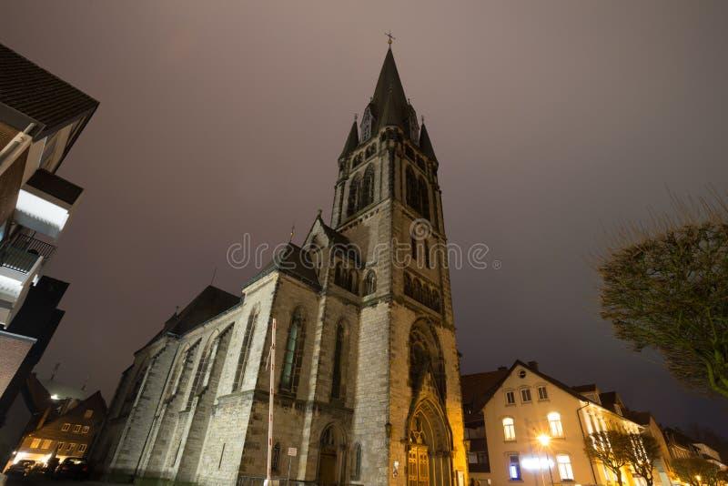 martibn luther εκκλησία detmold Γερμανία το βράδυ στοκ εικόνα με δικαίωμα ελεύθερης χρήσης