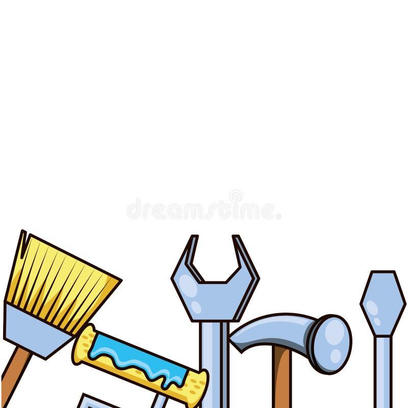 Martillo con el icono aislado herramientas determinadas libre illustration