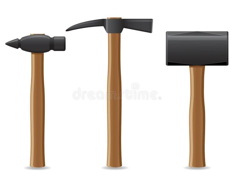 Martillo de la herramienta con el ejemplo de madera del vector de la manija stock de ilustración