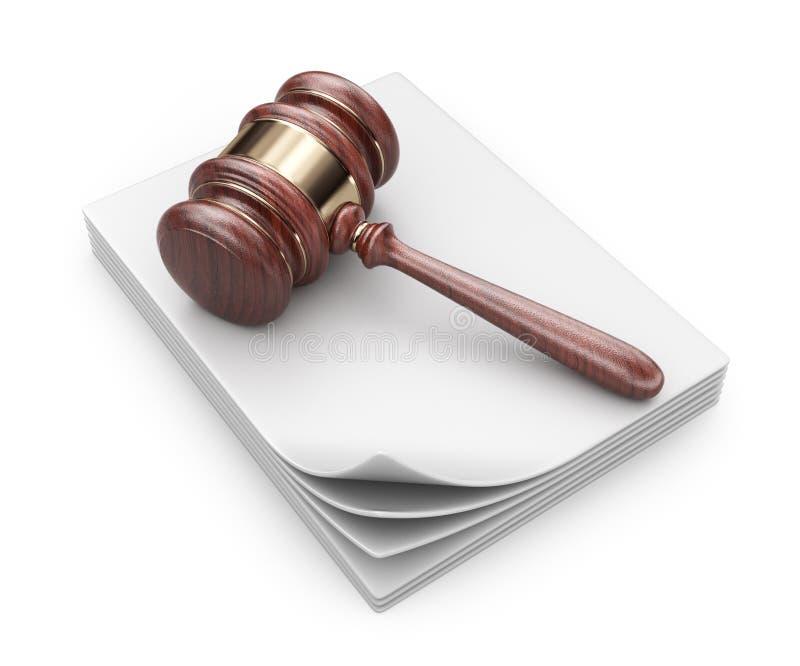 Martillo de la LEY en documentos. Concepto legal.  icono 3D  stock de ilustración
