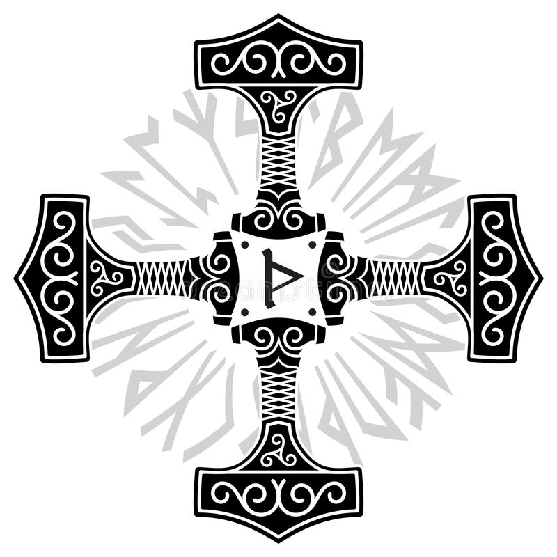 Martillo de los Thors - Mjolnir y runas nórdicas stock de ilustración