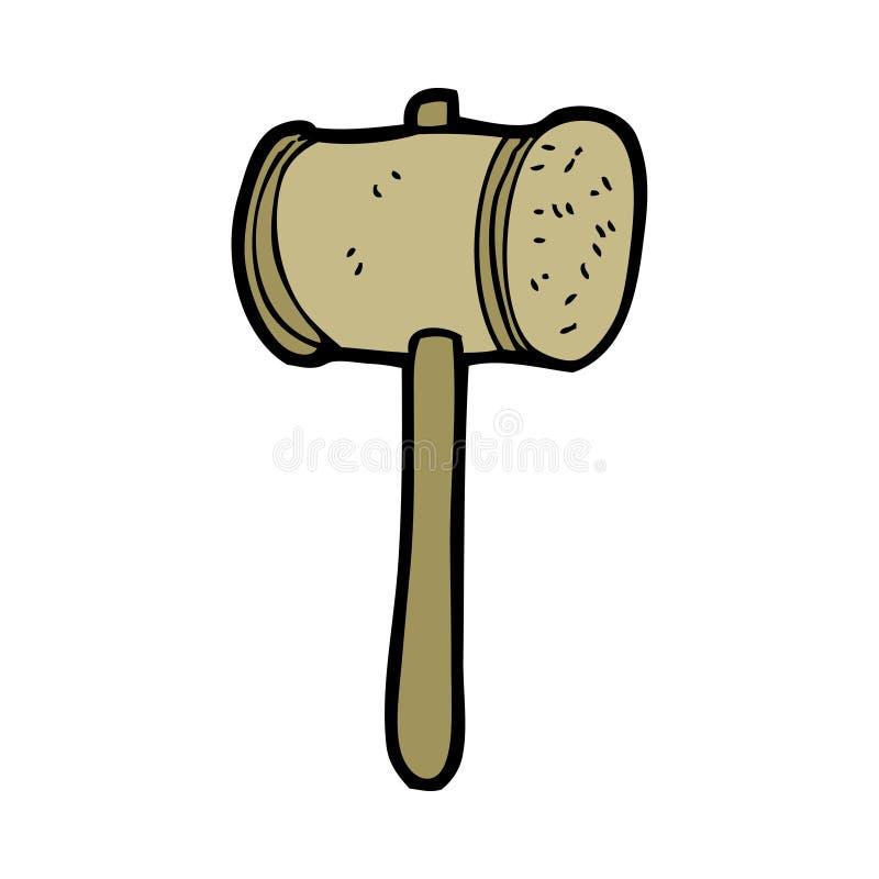 martillo de madera de la historieta stock de ilustración
