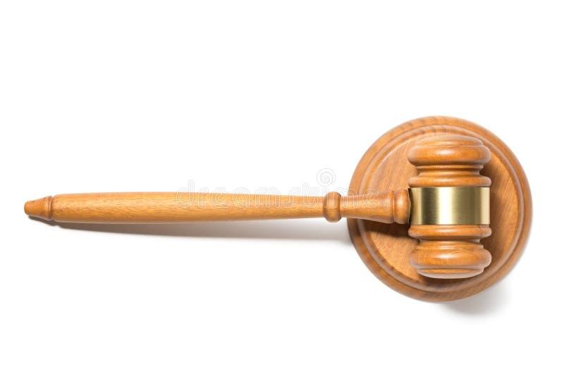 Martillo de madera del mazo del juez aislado en el fondo blanco Visi?n superior fotos de archivo libres de regalías