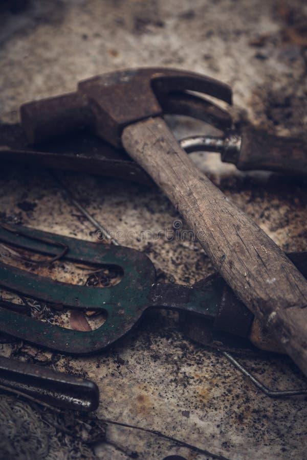 Martillo viejo y herramientas que cultivan un huerto imagen de archivo