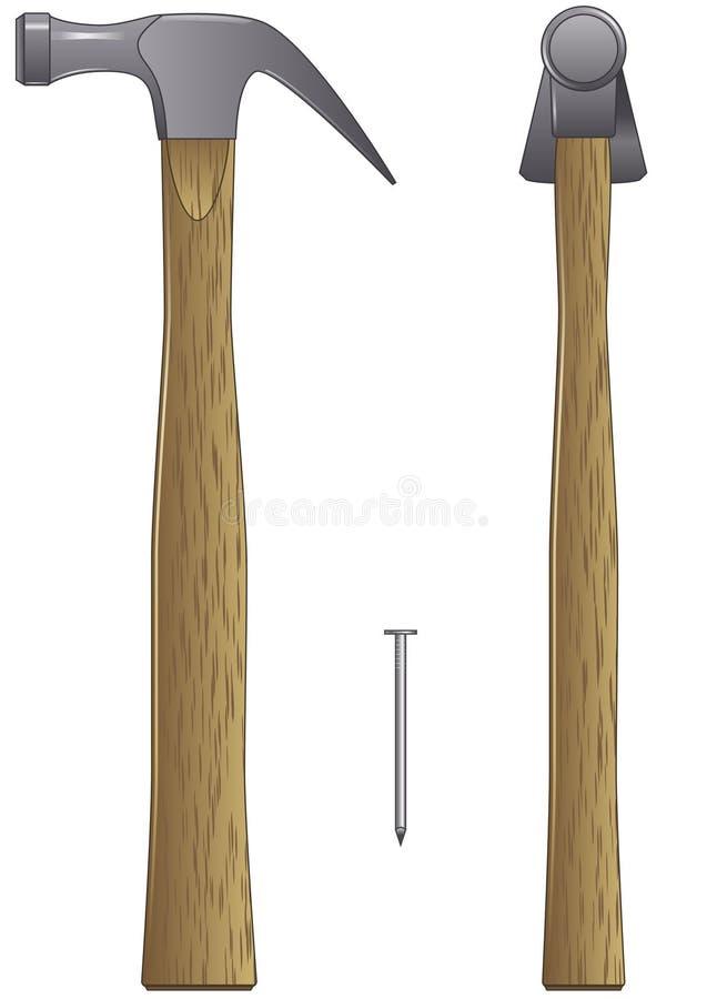 Martillo y clavo stock de ilustración