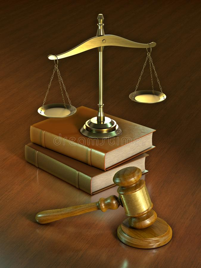 Martillo y escala legales ilustración del vector