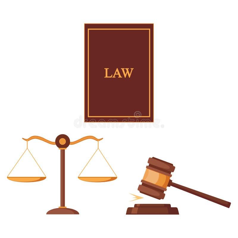 Martillo y escalas, ley de la justicia aislados en el fondo blanco Juzgue el mazo Subasta, cocept del juez Diseño plano del vecto stock de ilustración