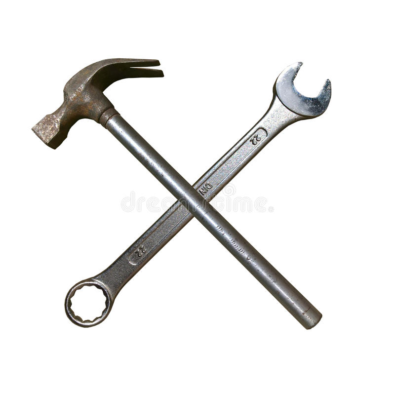 Martillo y llave inglesa del metal fotos de archivo libres de regalías