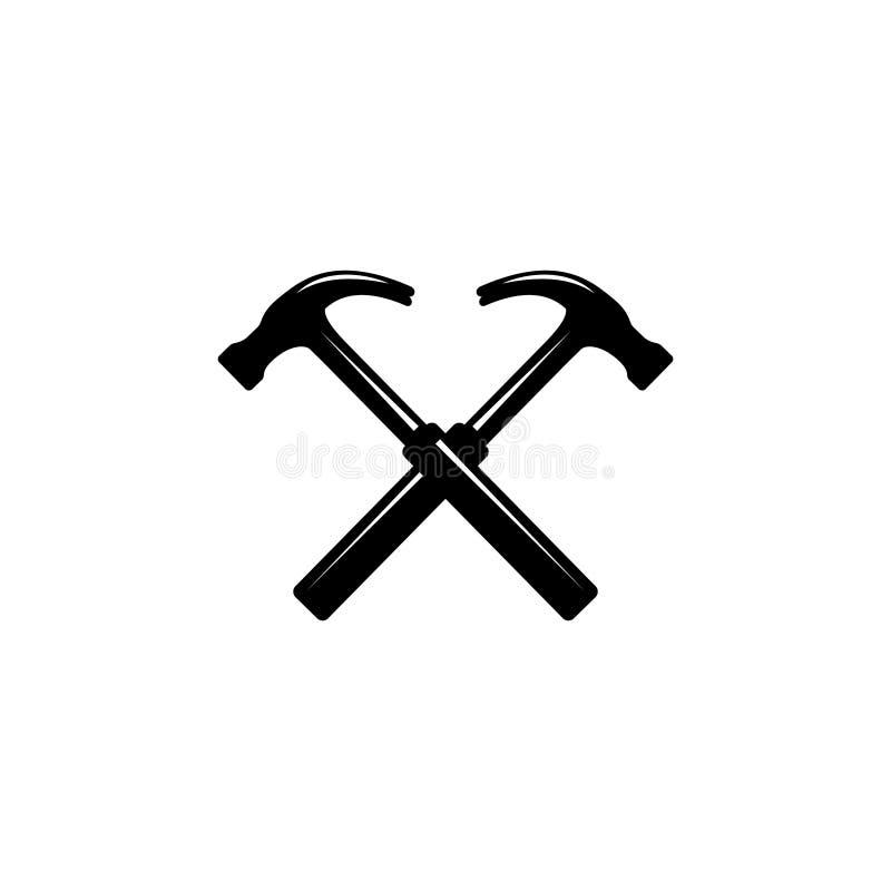 Martillos carpinteros cruzados negros Handyman, cerrajero, herramienta de martillo de contrachapado para reparación y mantenimien stock de ilustración